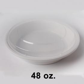 圆形白色塑料餐盒套装 48 oz. (948) - 150套/箱
