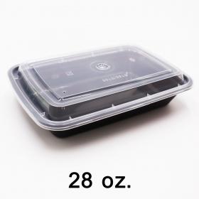 长方形黑色塑料餐盒套装 28 oz. (868) - 150套/箱