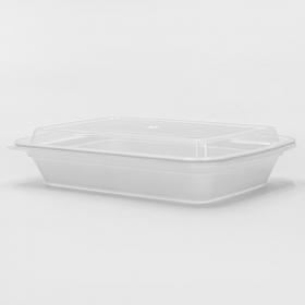 长方形白色塑料餐盒套装 28 oz. (868) - 150套/箱