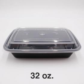 长方形黑色塑料餐盒套装 32 oz. (878) - 150套/箱