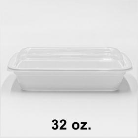 长方形白色塑料餐盒套装 32 oz. (878) - 150套/箱