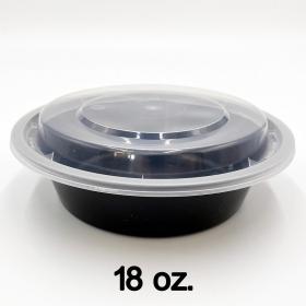 HT 18 oz. 圆形黑色塑料餐盒套装 (018)- 150套/箱