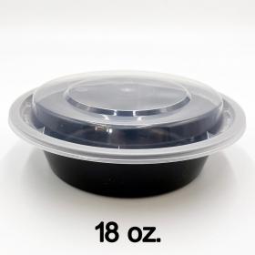圆形黑色塑料餐盒套装 18 oz. (618/018) - 150套/箱