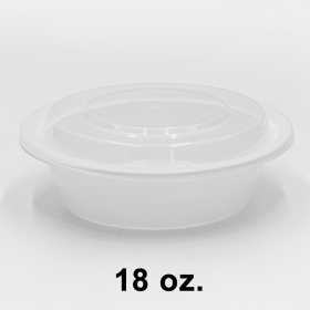 HT 18 oz. Round White Plastic Container Set (018) - 150/Case