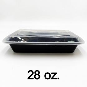 HT 28 oz. 长方形黑色塑料餐盒套装 (868) - 150套/箱