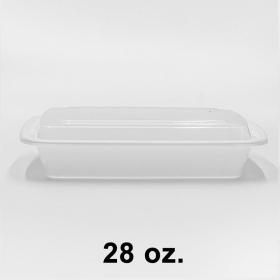 HT 28 oz. 长方形白色塑料餐盒套装 (868) - 150套/箱
