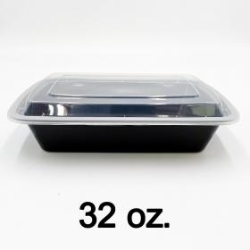 HT 32 oz. 长方形黑色塑料餐盒套装 (878) - 150套/箱