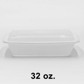 HT 32 oz. 长方形白色塑料餐盒套装 (878) - 150套/箱