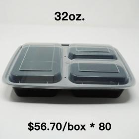 [Bulk 80 Cases] 32 oz. Rectangular Black Plastic 3 Compartment Container Set (333) - 150/Case