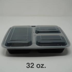 SR 32 oz. 长方形黑色塑料三格餐盒套装 (333) - 150套/箱