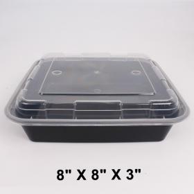 """SR 8"""" X 8"""" 正方形黑色塑料餐盒套装 (8148) - 100套/箱"""