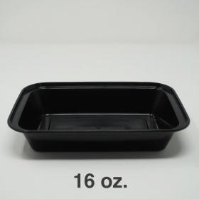 SR 16 oz. 长方形黑色塑料餐盒套装 (8168) - 150套/箱