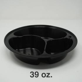 SR 39 oz. 圆形黑色塑料三格餐盒套装 (938/9388) - 150套/箱