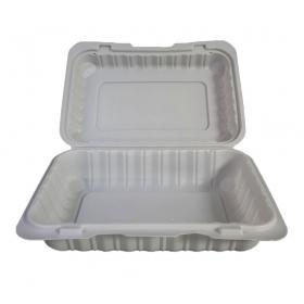 """长方形白色塑料环保餐盒 6"""" X 9"""" X 2.75"""" - 150/箱"""