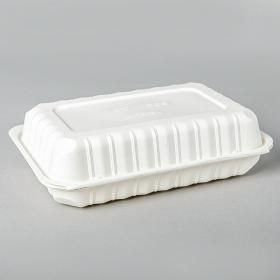 """长方形白色塑料环保餐盒 6"""" X 9"""" X 2.5"""" - 150/箱"""