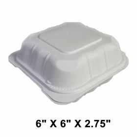 """正方形白色塑料环保餐盒 6"""" X 6"""" - 250/箱"""