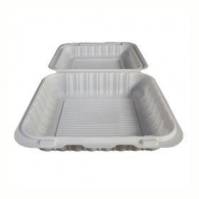 """正方形白色塑料环保餐盒 8"""" X 8"""" X 2.5"""" - 150/箱"""