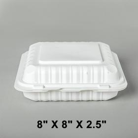 """正方形白色塑料三格环保餐盒 8"""" X 8"""" X 2.5"""" - 150/箱"""
