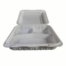 """正方形白色塑料三格环保餐盒 9"""" X 9"""" X 2.5"""" - 150/箱"""