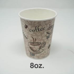 一次性印花咖啡纸杯 8 oz.  - 1000/箱