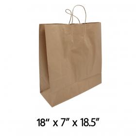 "18"" X 7"" X 18.5"" 大号带提手纸袋 - 200/箱"