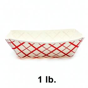 长方形红格白底纸质餐盘 1 lb. - 1000/箱