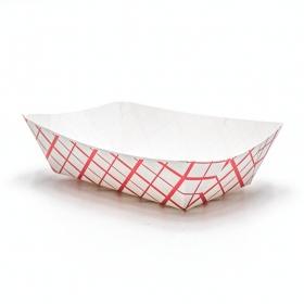 长方形红格白底纸质餐盘 2 lb. - 1000/箱