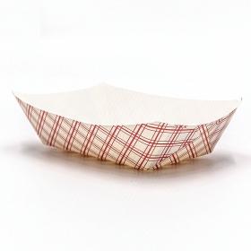 长方形红格白底纸质餐盘 3 lb. - 500/箱