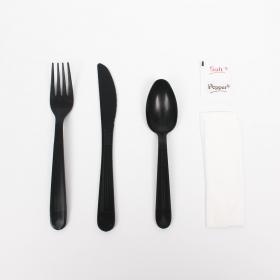餐具六件套 纸巾, 刀, 叉, 勺, 盐, 胡椒 - 150/箱