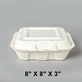 """AHD 正方形白色三格环保餐盒 8"""" X 8"""" X 3"""" - 200/箱"""