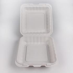 "Kari-Out 883SW 正方形白色塑料环保餐盒 8"" X 8"" - 150/箱"