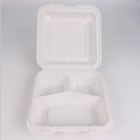 "Kari-Out 正方形白色塑料三格环保餐盒 8"" X 8"" - 150/箱"
