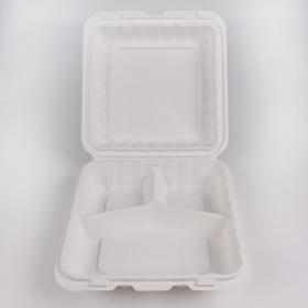 "Kari-Out 993W 正方形白色塑料三格环保餐盒 9"" X 9"" - 150/箱"