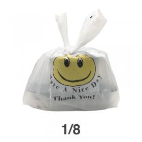 1/8 笑脸白色塑料袋 - 270/箱