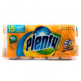"""Plenty 白色双层厨房纸 52张/卷 11"""" X 10.4"""" - 15卷/箱"""