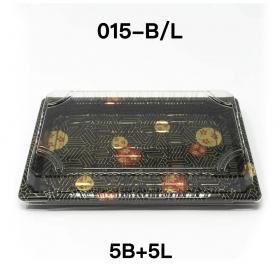 "[Bulk 5 Sets] YG 015 Rectangular Black Plastic Sushi Tray Container Base Combo 8 1/2"" X 5 1/4"" X 5/8"" - 1000Pair/Sets"