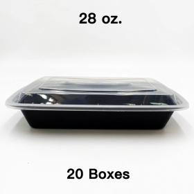 [团购20箱] 28 oz. 长方形黑色塑料餐盒套装 (868) - 150套/箱