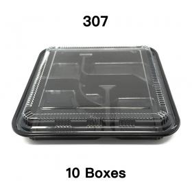 "[Bulk 10 Cases] 307 Square Black Plastic Bento Box Set 10 5/8"" X 10 5/8"" X 1 1/2"" - 100/Case"