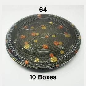 """[团购10箱] 64 圆形花纹塑料派对餐盘套装 14 3/4"""" X 1 7/8"""" - 60套/箱"""