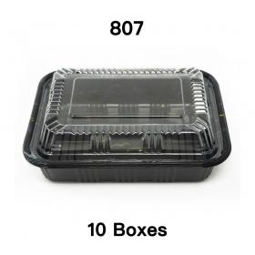 """[团购10箱] 807 长方形黑色塑料餐盒套装 6 1/2"""" X 4"""" X 1 3/8"""" - 550套/箱"""