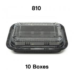 """[团购10箱] 810 长方形黑色塑料餐盒套装 7 1/4"""" X 5 1/8"""" X 1 3/8"""" - 500套/箱"""