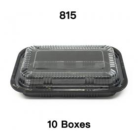 """[团购10箱] 815 长方形黑色塑料餐盒套装 8"""" X 5 1/8"""" X 1 3/8"""" - 450套/箱"""