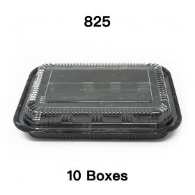 """[团购10箱] 825 长方形黑色塑料餐盒套装 9 1/8"""" X 6 3/8"""" X 1 3/8"""" - 300套/箱"""