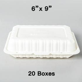 "[Bulk 20 Cases] PP206 Rectangular White Plastic Hinged Food Container 9"" X 6"" - 150/Case"