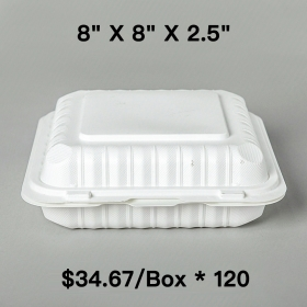 "[Bulk 120 Cases] Square White Plastic 3-Compartment Hinged Food Container 8"" X 8"" X 2.5"" - 150/Case"