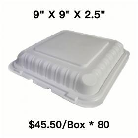 "[Bulk 80 Cases] Square White Plastic 3-Compartment Hinged Food Container 9"" X 9"" X 2.5"" - 150/Case"