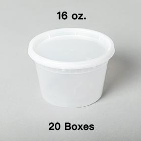 [团购20箱] 16 oz. 圆形透明塑料汤盒套装 - 240套/箱