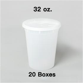 [团购20箱] 32 oz. 圆形透明塑料汤盒套装 - 240套/箱