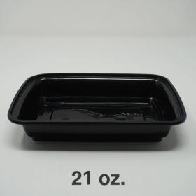 AHD 长方形黑色塑料餐盒套装 21 oz. (038) - 150套/箱