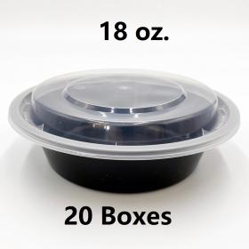 [Bulk 20 Cases] 18 oz. Round Black Plastic Container Set (718) - 150 Set/Case